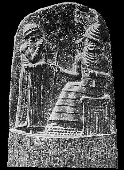 Hammurabi, øverste del av stentavle med han lover